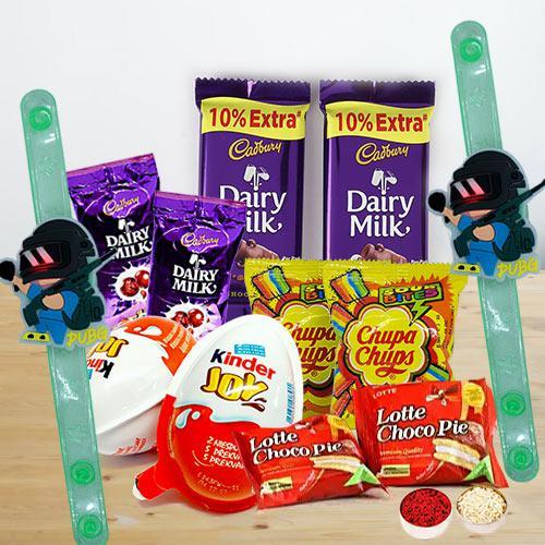Rakshabandhan Gift of Assorted Chocolates n PubG Rakhi for Kids