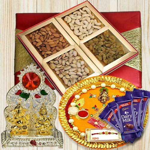 Rakhi Gift of Pooja Thali, Dry Fruits N Assortments