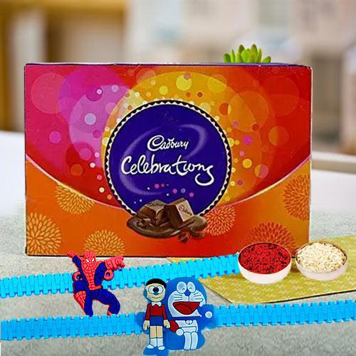 Assorted Cadbury Chocolates with Kids Rakhi Pair