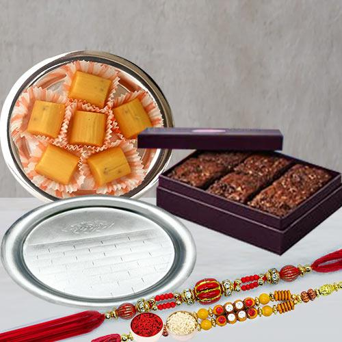 Twin Fancy Rakhis with Brownie, Pineapple Chocolate n Pooja Thali