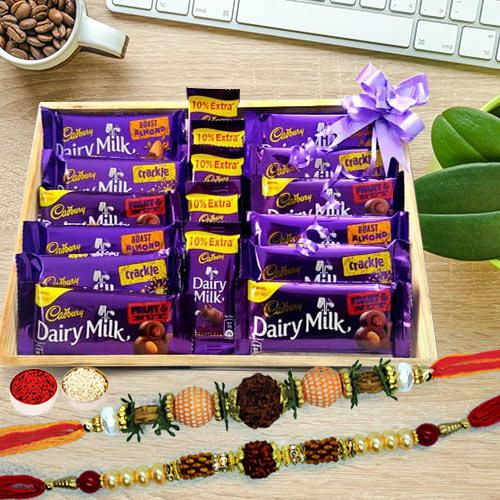 Rudraksha Rakhi Set with Assorted Cadbury Chocolates in Wooden Tray