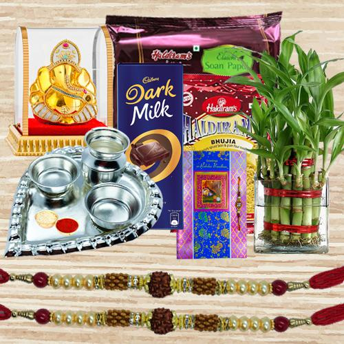 Eco Friendly Rakhi Gift for Good Luck with Sweets n Chocolates