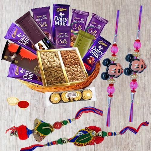 Chocolates Hamper with Family Set Rakhi