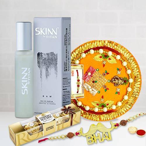 Rakhi with Ferrero Rocher N Pooja Thali N Perfume
