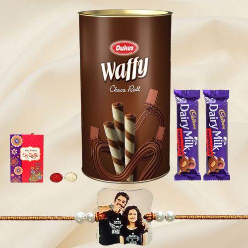 Cadbury with Wafers N Personalized Photo Rakhi
