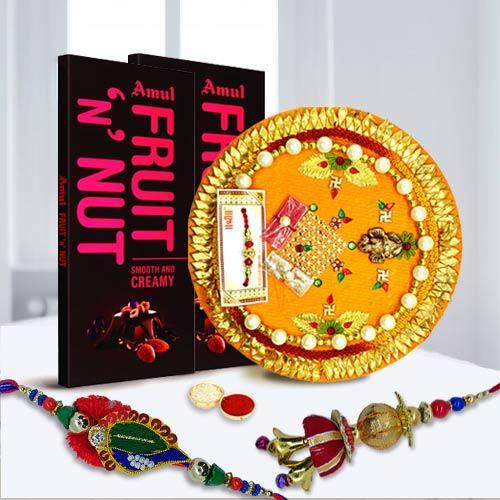 Bhaiya Bhabhi Rakhi Set with Chocolate N Thali