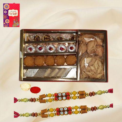Assorted Sweets n Snacks Pack from Bhikaram Chandmal with 2 Rakhi