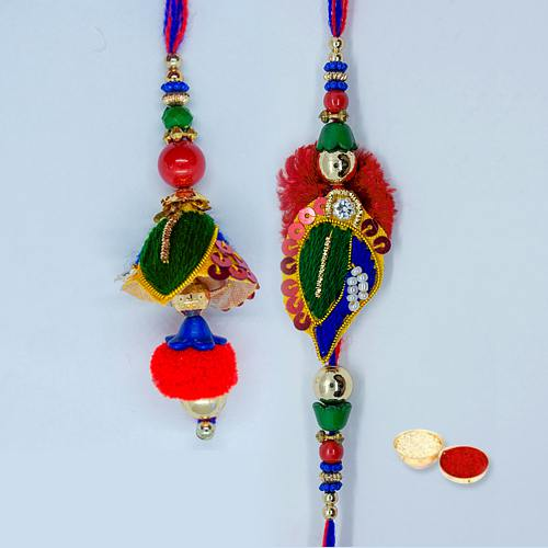 Fabulous Pyar Ka Bandhan Rakhi Lumba Set with Message Card N Roli Tika N Chawal