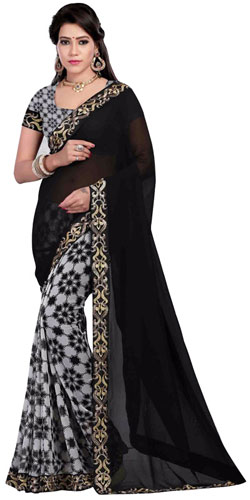 Comeliness�s Blossom Black Georgette Saree
