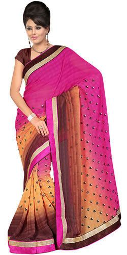 Flattering Pink, Chrome and Brown in Colour Gorgettee Printted Saree