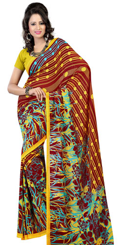 Elegantly Designed Faux Georgette Saree in Brown and Mustard Colours