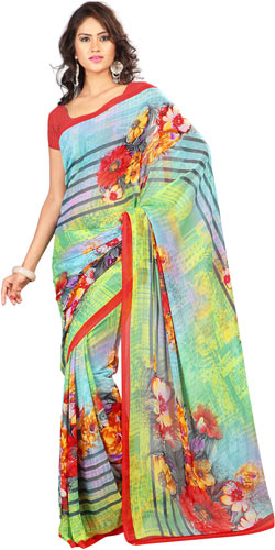 Attention-Getting Yellow and Sky Blue Colour Combined Georgette Printed Saree