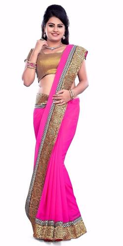 Dazzling Georgette Printed Saree in Pink