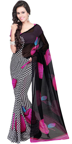 Classic Digital Printed Georgette Saree in Multicolour