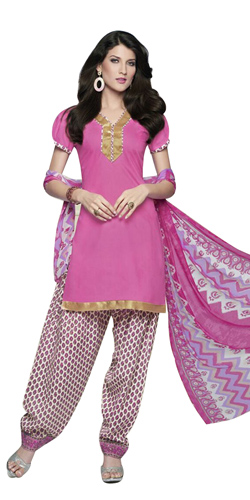 Arresting Cotton Printed Salwar Suit in Pink
