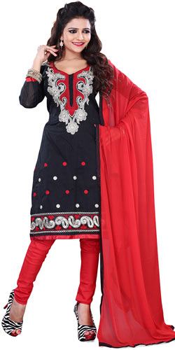 Astonishing Black Colour Cotton Printed Salwar