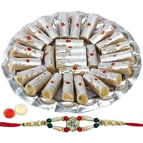 Sweet Delight with  Kaju Pista Roll from <font color=#FF0000>Haldiram</font> with 1 Free Rakhi, Roli Tilak and Chawal