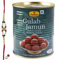 Relishing <font color=#FF0000>Haldiram</font> Gulab Jamun with Free Rakhi, Roli Tilak and Chawal