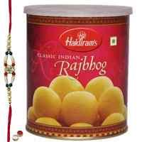 Special Rakhi Treat From <font color=#FF0000>Haldiram</font> 1 Kg. Raj Bhog with Free wonderful Rakhi, Roli ,Tilak and Chawal
