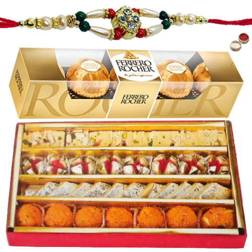 Haldiram Assorted Sweets with Ferrero Rocher Chocolates and a free Rakhi
