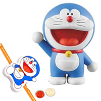 Outstanding Selection of Doremon N Suneo Action Figure for Little Ones with Doremon Rakhi and Roli Tilak Chawal
