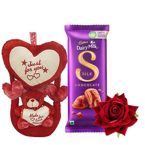 Soft Love Teddy with Velvet Red Rose