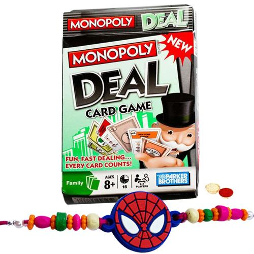 Merrymaking Monopoly Deal Card Game and Kids Rakhi, Cadbury Nutties with Free Roli Tilak and Chawal