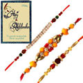 Beautiful Combo of Rakhis with Rakhi Card