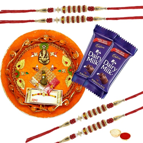 Rakhi Thali with 4 Rakhi and Dairy Milk