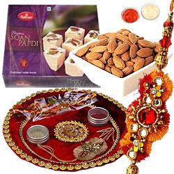 One Rakhi with Thali, Almonds And Soan papdi