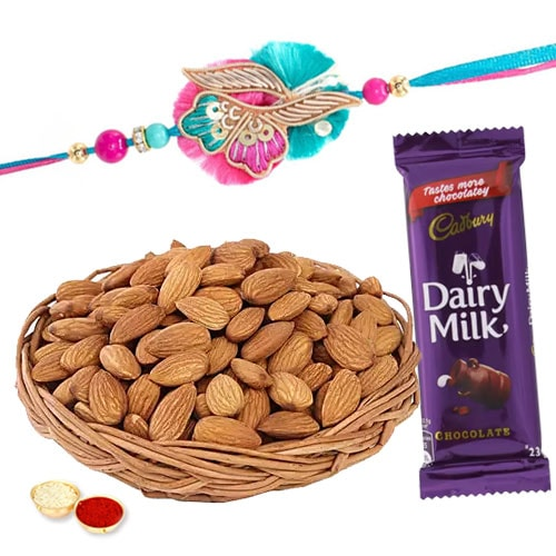 Wholesome Almonds with Alluring Rakhi Gift Combo