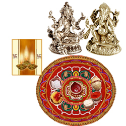 Diwali Thali with Laxmi Ganesh Idol