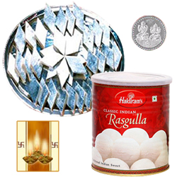 Kaju Katli, Rosgulla and Silver Plated Coin