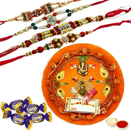 Admirable Thali with Rakhi and Chocolate Delight