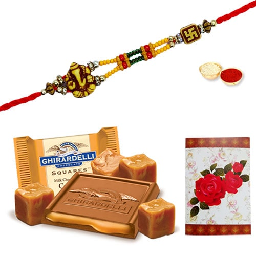 Charming One or More Om Ethnic Rakhi Teamed with Chocolates