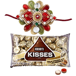 2 Designer Ethnic Rakhi with Hersheys Kisses ( 75 Gms.)<br /><font color=#0000FF>Free Delivery in USA</font>