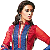 Send Amazing Red and Blue Cotton Printed Unstitched Salwar Suit to Chennai