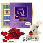 Scintillating Chocolate n Teddy Gift Hamper with 1 Velvet Rose