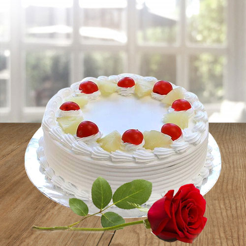 Send Vanilla Cake N Red Rose Online