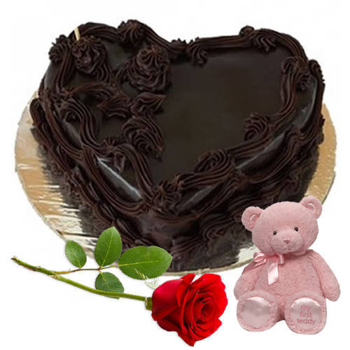 Deliver Online Chocolate Cake In Heart Shape With Teddy N Single Rose