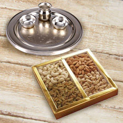 Silver Plated Puja Thali with Assorted Dry Fruits