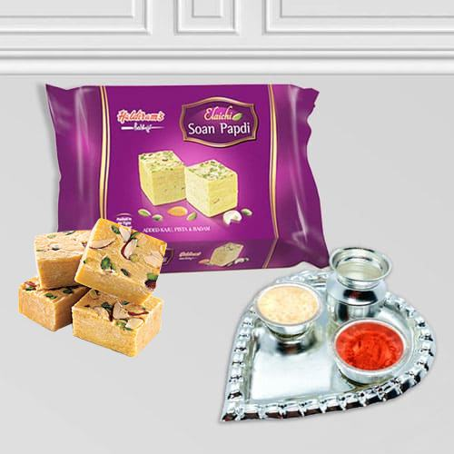 Silver Plated Paan Shaped Puja Aarti Thali (weight 52 gms) with Soan Papdi from