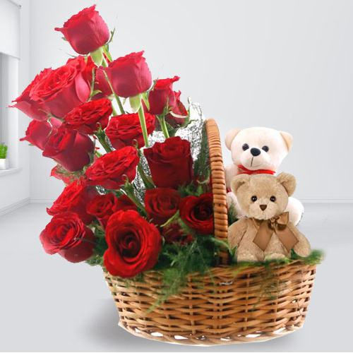 Smart Looking Red Roses Arrangement With Twin Teddy