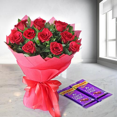 Home Birthday Gifts Sweet Sensation Rose Bouquet With Dairy Milk Chocolates
