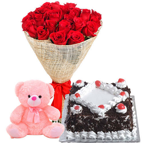 Send Online Red Roses Bouquet with Teddy N Black Forest Cake