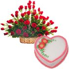 Roses Arrangement and Love Cake to Chennai,Cakes to Chennai,Combo Gift Items to Chennai.