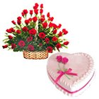Roses Arrangement and Love Cake to India,Cakes to India,Combo Gift Items to India.