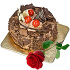 Fresh Baked Chocolate Cake N Rose- Midnight Delivery