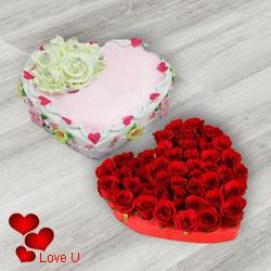 Heart Shape Dutch Red Roses with Heart Shape Cake
