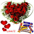 Heart Shape Roses Arrangement n Cadburys Chocolates